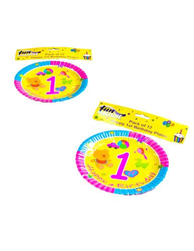 1st anniversaire jaune assiettes anniversaire décorations de fête 7 pouces pack de 12