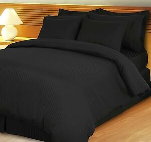AU-Choice-Bedding-Sheets-Collection-Egyptian-Cotton-AU-Sizes-Black-Striped