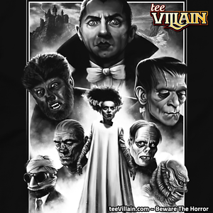 60a16a00515 Image is loading CLASSIC-MONSTERS-Dracula-Frankenstein-Bride-Wolfman-Mummy- Mens-
