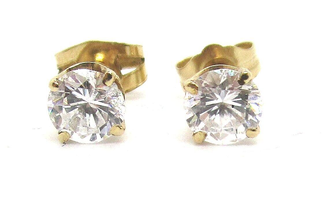 14K Yellow gold CZ Pierced Earring Studs 1.4 grams lot 30y1
