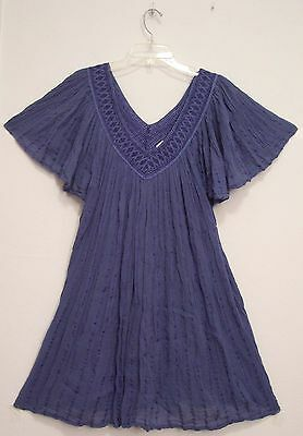 Vtg GREECE Blue 80% Cotton 20% Rayon GAUZE Flutter Slv FESTIVAL Mini Dress OS