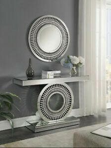 Mirrored Console Table Mirror Modern Round Crystal Cut