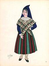 Gravure d'Emile Gallois costume des provinces françaises 1950 Béarn