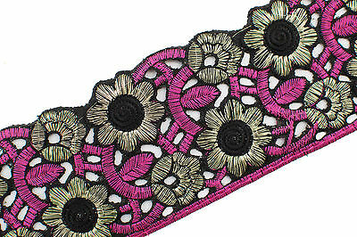 """Wide Woven Border Ribbon Sew  T134 BY THE YARD Embroidered Trim 2.95/"""" 7.50 CM"""