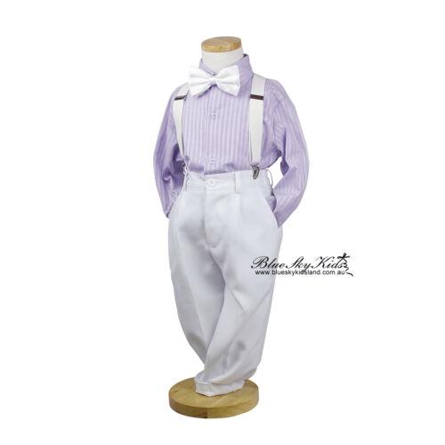 NWT Boys Long Sleeve Shirt Cotton Size 000-16 White-Blue-Pink-Purple Stripes