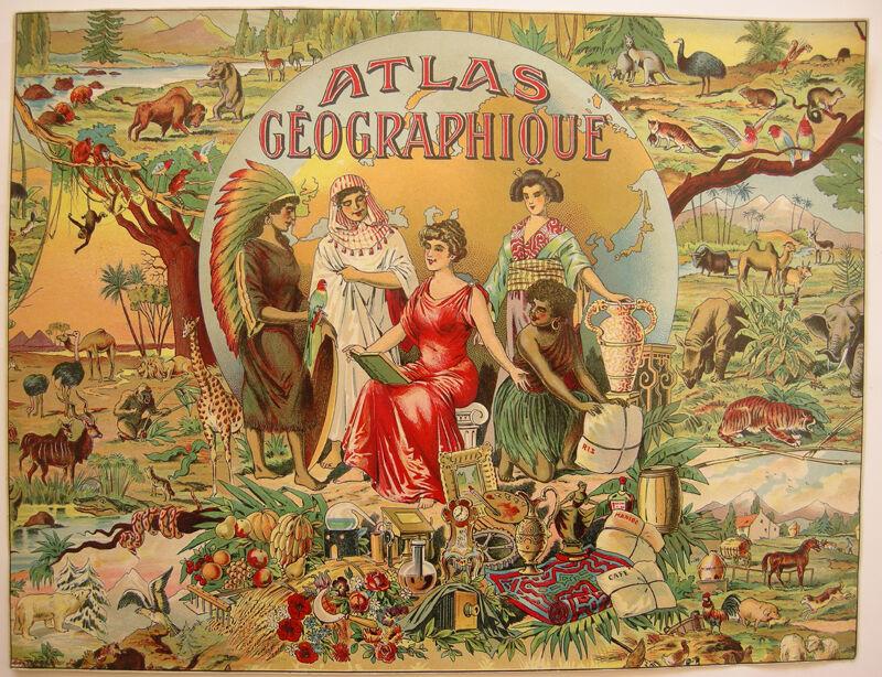 Spielplan Atlas Geographique Titel Orig Chromolithografie 1890 neuwertig