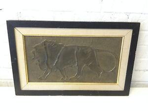 Vintage Antique Art Deco Bronze Bas Relief Lion Framed Plaque Art   eBay