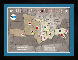 Details about Tracking Art - Big10 Big Ten College Football Teams Stadiums  Location Map, 24x18