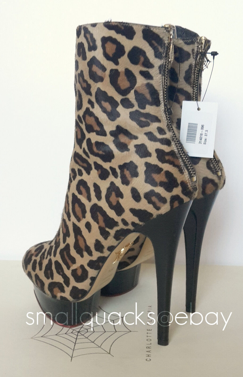 BNIB CHARLOTTE OLYMPIA Lucinda Leopard Print Pony Hair Calf Hair Pony leather Ankle Stiefel df8762