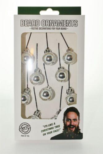 Festive Beard Ornaments Silver 10 Pack By Beardo Face Decoration Great Gift