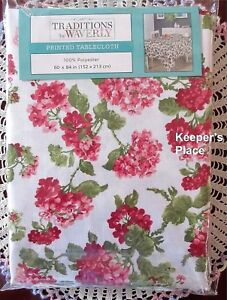 Waverly-Traditions-ROLLING-MEADOW-Pink-Floral-Fabric-Tablecloth-60-x-84-New