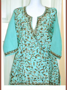 Brown-Embroidered-Sea-Green-Cotton-Tunic-Top-Kurti-from-India-Large