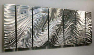 6b08bb2fe3b Image is loading Statements2000-Modern-Silver-Metal-Wall-Art-Abstract-by-