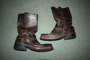 Men's Frye Harness Biker Boots - UK 7.5 - Brown  cowboy hard toe leather