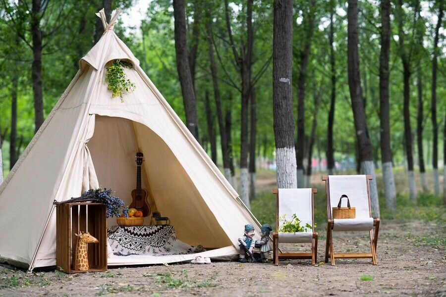 US  Ship Oudoor Canvas Camping Pyramid Adult Indian Teepee Tent for 23 Person  hot sale