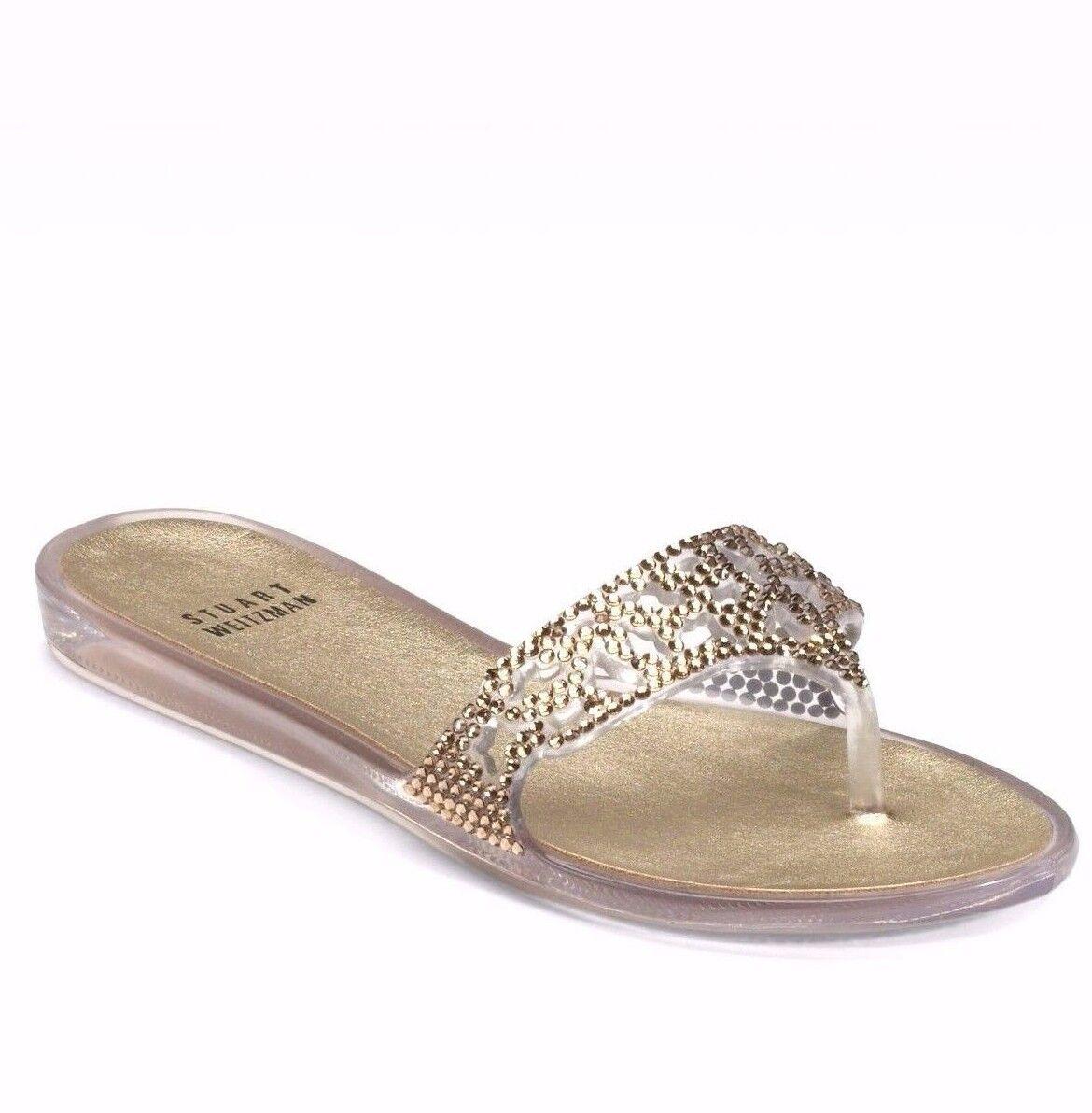 Stuart Weitzman Clear Gold On The Rocks Crystal Stones Jelly Flip Flop Sandals 8