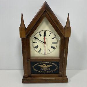 Ethan-Allen-Steeple-Mantle-Clock-Quartz-Decor-Wood-1981-41-4025-USA-Tested