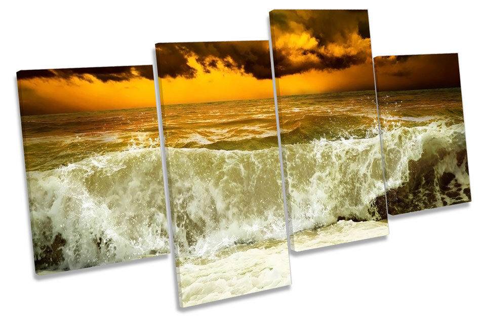 STORMY BEACH WAVE WAVE WAVE TRAMONTO CANVAS Wall Art Multi Box incorniciato edf8fd
