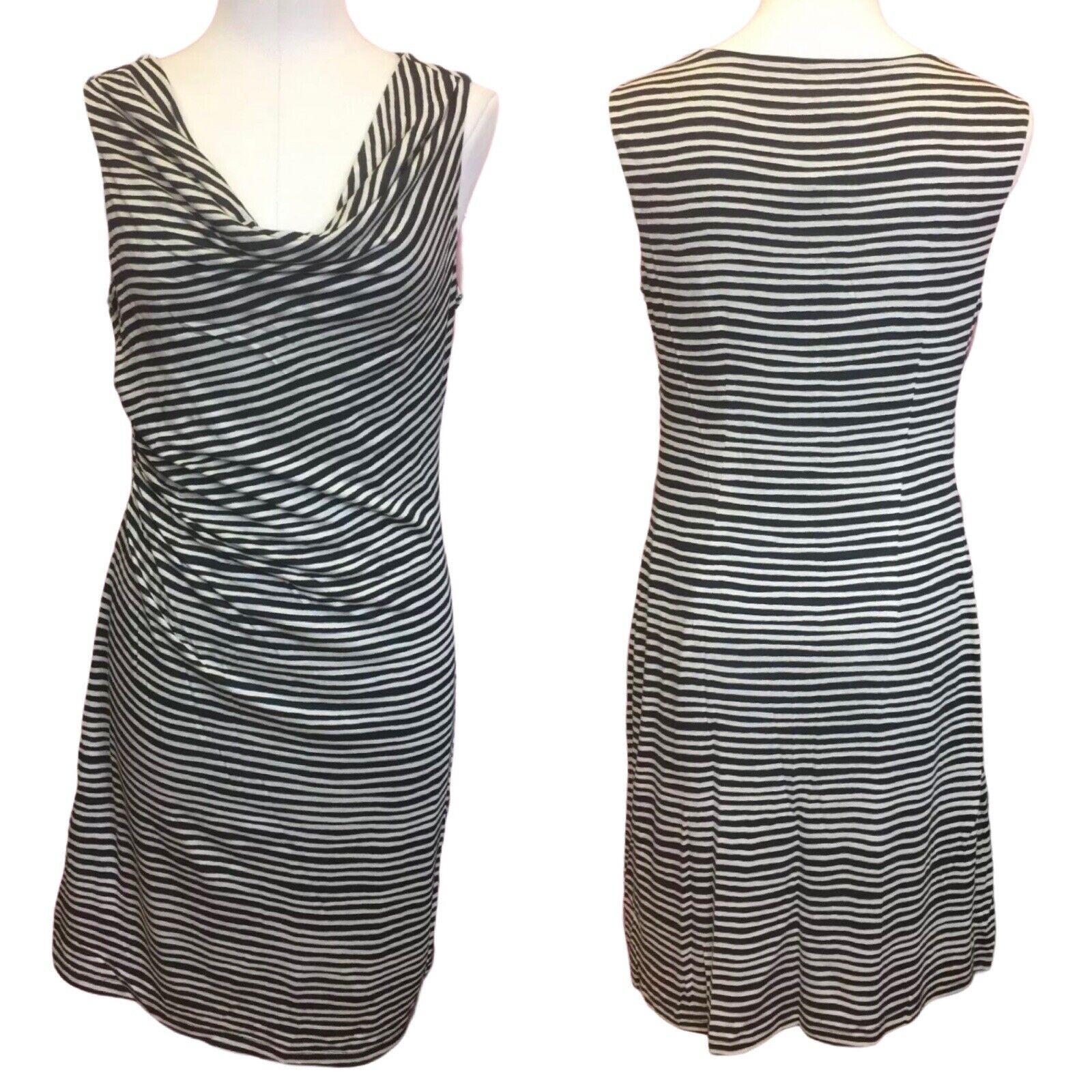 Loft Womens Dress sz M Black White Striped Sleeveless Ruched New AB7