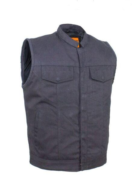 Men/'s Concealed Carry Black Denim Motorcycle Biker Club Vest Great Deal