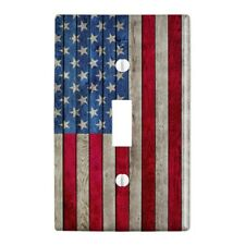 Rustic American Flag Wood Grain Design Wall Light Switch Plate Cover