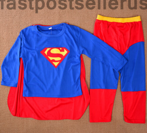 Sale Superman Boys Kids 3pc Costume Set Halloween Party Dress Up Outfit Cosplay