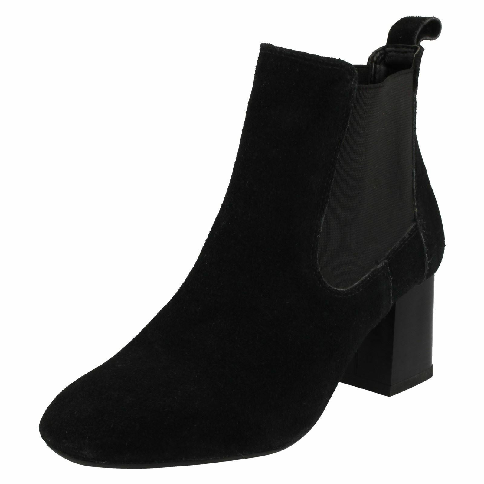 Leather Collection F50657 Ladies Black Suede Leather Pull On Chelsea Boots