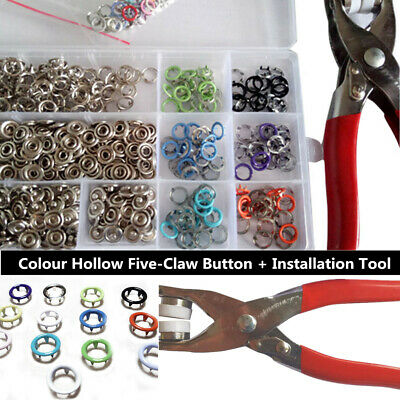 Snap Fastener Pliers Tool Kit 120X Snaps 6 colors Copper colour Circular Popper