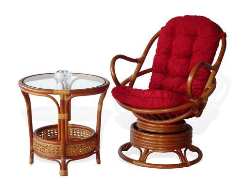 Java Handmade Design Rattan Wicker Swivel Rocking Chair 3 Colors Red Cushion