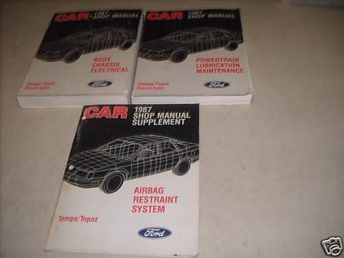 1987 FORD ESCORT TEMPO MERCURY TOPAZ Shop Repair Service Manual Set 3 VOLUME OEM