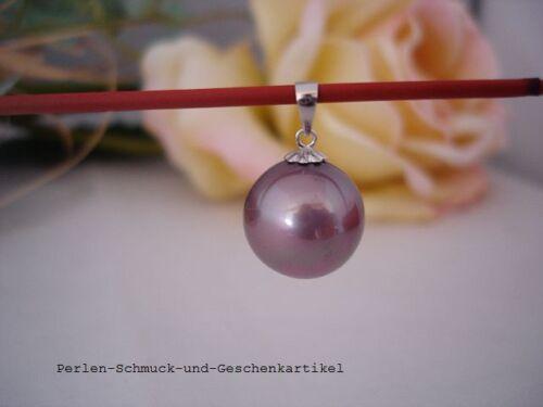 aus MuschelkernPerle 14mm Violett Anhänger 925er Silber TOP Geschenk