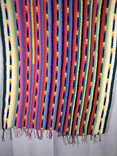 "Vtg Handmade Afgan Afghan Crochet Multi-Color Striped Throw Blanket 36"" X 58"""