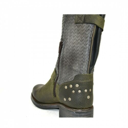 Yellow Cab Damen Deep W Y28157 Leder Stiefel Biker Boots Schuh Moss