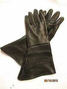 MEN'S BLACK AMERICAN BISON GAUNTLET GLOVES - HEAVY DUTY/TOUGH - MADE IN USA