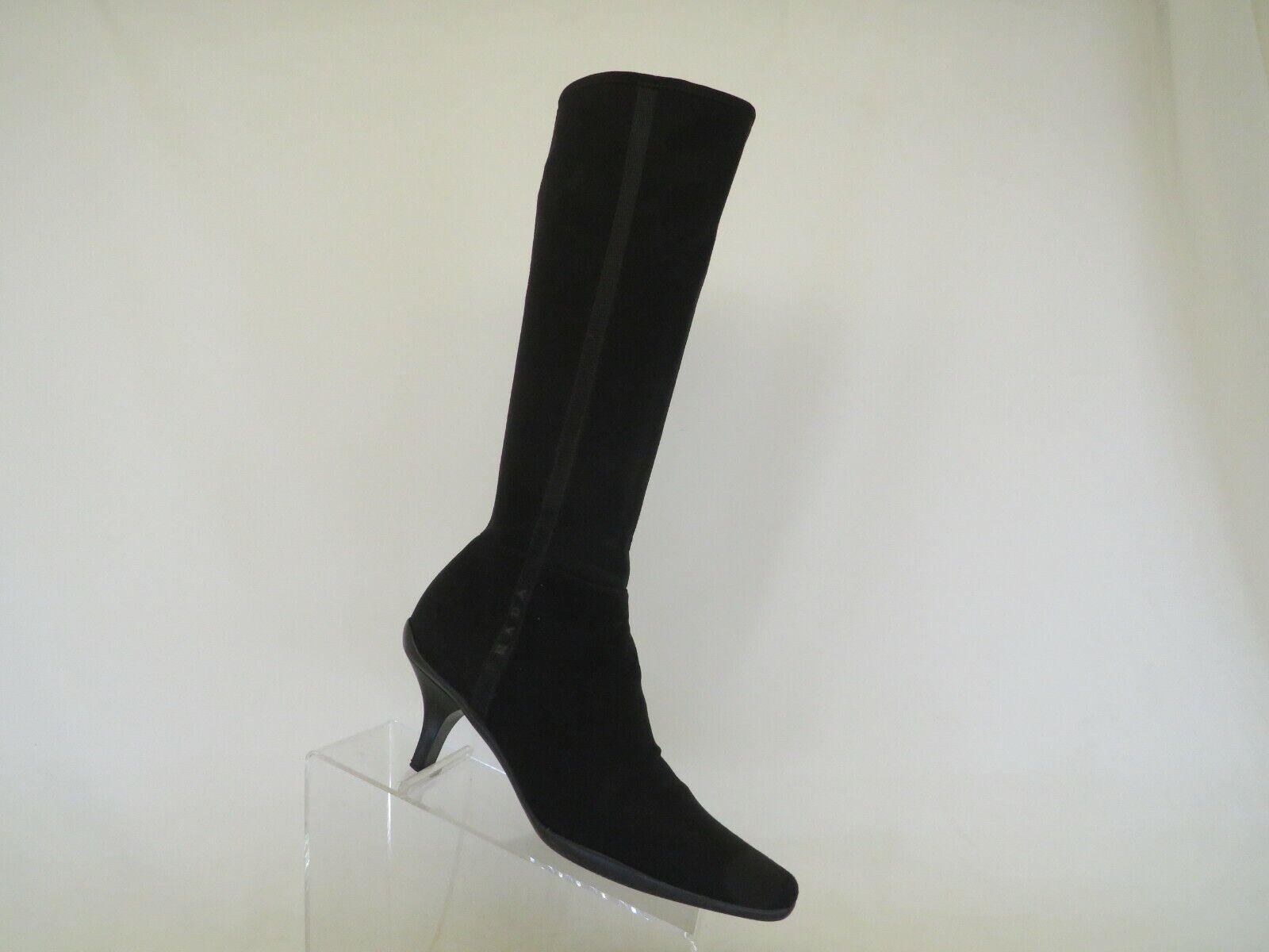 Prada Black Gore Tex Zip Kitten Heel Knee High Fashion Boots Size 37.5 EUR Italy