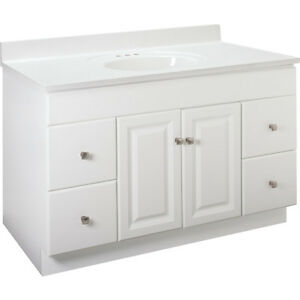 White Bathroom Vanity Cabinet 48 Inches Wide X 21 Inches Deep Fast Delivery Ebay