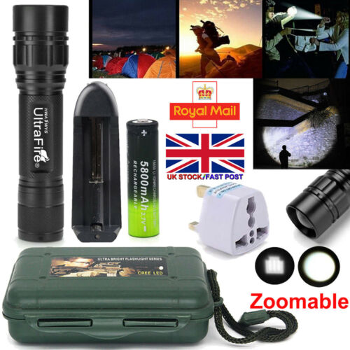 Tactical 20000LM Zooma LED Flashlight Rechargeable battery Torch with BOX Case