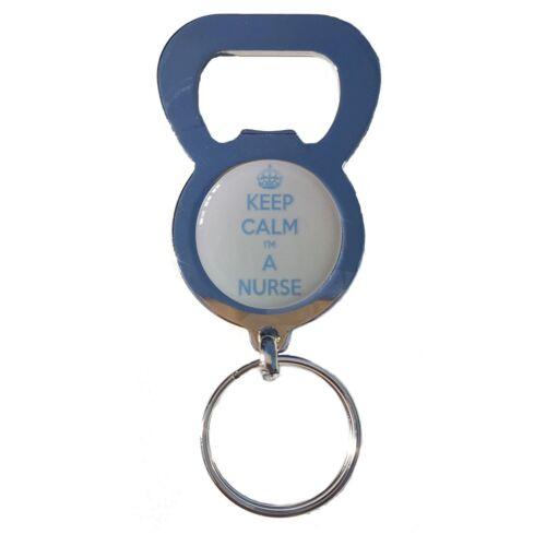 KEEP CALM IM A NURSE BEER DRINK BOTTLE CAP OPENER CHROME KEYRING