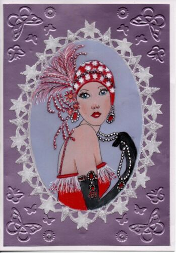 handcrafted parchment craft card Lady in red  Art Deco Lady any occasion