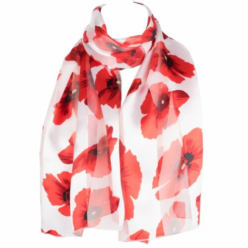 HatToSocks Poppy Print Floral Chiffon Satin Scarf Ideal for Remembrance Day
