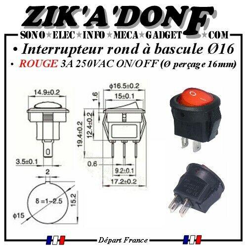 Interrupteur rond ROUGE bascule ON//OFF 2 positions Ø16 3A//250VAC