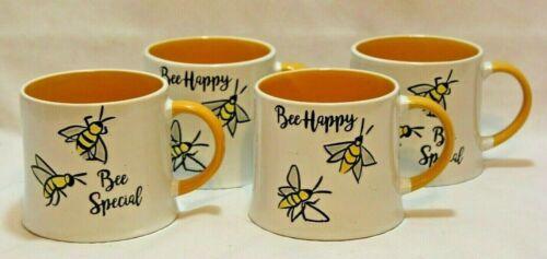 BEE HAPPY Heavy Ceramic Large 19 Oz. Mugs with Yellow Interior I