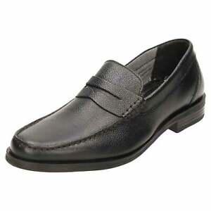 red tape leather formal slip on loafer shoes black mens