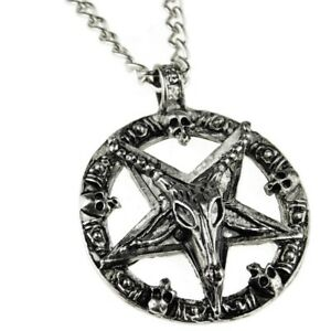 Baphomet chain inverted pentagram goat devil star satanic pendant 28 image is loading baphomet chain inverted pentagram goat devil star satanic aloadofball Choice Image