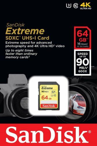 SanDisk 64GB clase 10 EXTREME UHS-I Tarjeta SD de U3 90MB//s Tarjeta de memoria SDXC Completo