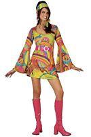 60s Psychedelic Retro Go Go Girl Hippie Ladies 1960s Fancy Dress Dress Costume