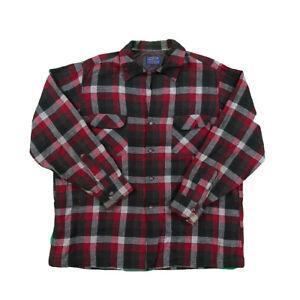 Vintage-Plaid-Pendleton-100-Wolle-Klassisch-Flanell-Langarm-Button-Up-Shirt