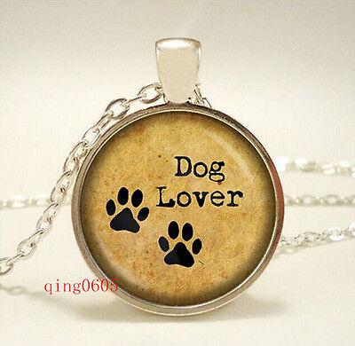 Vintage love dog Cabochon  Tibetan silver Glass Chain Pendant Necklace
