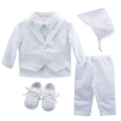 a8c03d282b Baby Boy s 5 Pcs Set White Christening Baptism Outfits Cross Applique  Embroidery