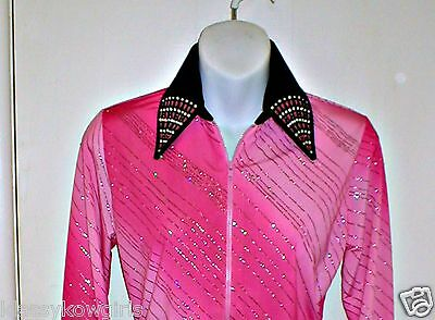Rodeo Girls Pink Ombre Western Rail Trail Pleasure Queen /& Glamour Shirt